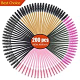 200 stücke Einweg Mascara Zauberstäbe Wimpernbürsten Wimpern Make-Up Applikatoren Kosmetik Pinsel Kit, (Multicolor, 200 stücke)