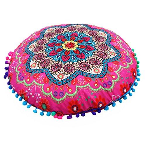 cinnamou Indian Mandala Kissenbezug - Bodenkissen - Runde böhmische Kissen Cover (B)