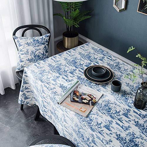 Blaue Tinte gedruckte Tischdecke, Picknick-Stoff-Hintergrund-Stoff-Kaffeetisch-Abdeckungs-Tuch, längliches dekoratives Tischtuch -