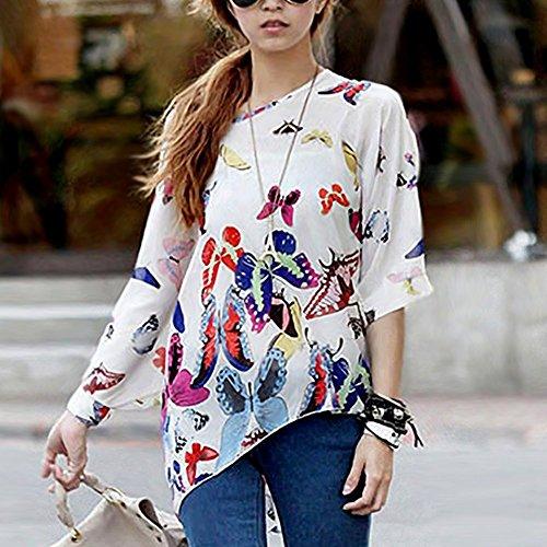 Minetome Femmes Batwing Bohême Imprime Impression en vrac Bat Manches 3/4 en mousseline de soie shirt Blouse Top Blanc