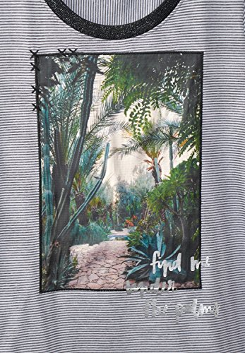 CECIL Damen Streifenshirt mit Fotoprint graphit light grey (grau)