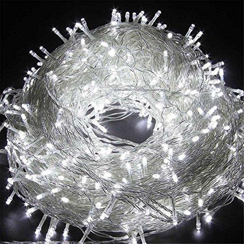 LUCKY CLOVER-A Christmas Fairy String 20 Meter 200 LEDs Light Window Curtain Wedding Party Halloween Garden bedroom Outdoor Indoor Wall Dekorationen (weiß, 8 Modi, Tail Stecker)