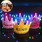 Skky Bell Birthday King Crown Hat For Boys With LED Light .best For Birthday Gift(color -sky Blue)