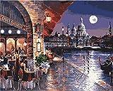 Kit de pintura al óleo por número para niños adultos principiantes de 40 x 50 cm - Visión nocturna para cafetería, dibujo con pinceles decoración de Navidad regalos Without Frame