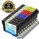 10 Druckerpatrone T0711 Kompatibel mit Epson Stylus DX7450 DX8400 DX8450 DX5050 SX410 SX100 SX218 DX4450 DX6000 DX7400 DX4050 DX5000 SX200 SX205 SX400 SX415 SX515W SX210 DX4400 Patrone (Colorfish)