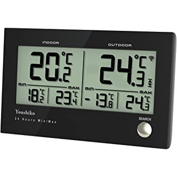 Youshiko Digital Wireless Indoor outdoor Weather Thermometer, Gauge, Monitor Temperature, Meter for Home Office (with outdoor Sensor) Min/Max Records (24 Hour Auto Reset)
