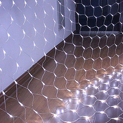 HJ® Filet lumineux à LED, 3M x 2M, 204 LED Noël pour la décoration extérieure intérieure, Noël, fête, jardin, mariage, Noël (blanc froid)
