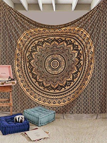 Tapisserie Queen Ombre Geschenk Hippie Wandteppiche Mandala Bohemian Psychedelic komplizierte indischen Tagesdecke 233,7x 208,3cm aakriti Galerie Black Golden