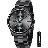 Orologi da uomo in acciaio inox e metallo, stile casual, impermeabile, cronografo al quarzo, data automatica, lancette…