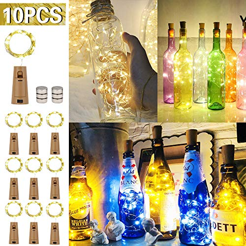 Etmury Flaschen Licht,10 Stück Korken Licht 2m 20 LEDs,LED Lichterkette Kupferdraht Weinflasche Lichter timmungslichter mit Kork DIY Dekor für Party Weihnachten, Halloween, Hochzeit,Geburtstag