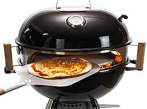 Moesta-BBQ 10084 Smokin' - Set per pizza per barbecue sferico, diametro 60 cm, con pala per pizza, pietra per pizza, teglia per pizza