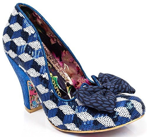 #Irregular Choice Nick Of Time Bleu Blanc Sequin Femmes Talons Chaussures