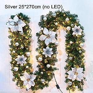 HMSDERT6YHW5RTG Weihnachts Girlande, Weihnachts Tannenzweiggirlande Deko, Weihnachts Girlande Aussen Weihnachtsgirlande Treppe Christmas Decorations (2.7m) (Keine LED leuchtet)