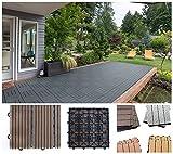 Home Deluxe WPC Holzfliese | Anthrazit | 1 m² | 11 Fliesen á 30 x 30 cm | verschiedene Farben und Mengen