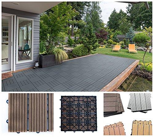 Home Deluxe WPC Holzfliese | Hellbraun | 1 m² | 11 Fliesen á 30 x 30 cm | verschiedene Farben und Mengen