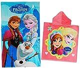 Unbekannt 2 TLG. Set: Badetuch + Badeponcho -  die Eiskönigin / Disney Frozen  - 70 cm * 140 cm Handtuch - Strandtuch - 100 % Baumwolle - Mädchen - 70x140 für Kinder ..
