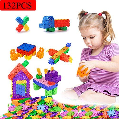 Meiqils 132pcs Bloques de Construcción Para La Educación Del Niño(4*4cm/p)