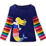 VIKITA Cotone Maglie a Manica Floreale Ricamo Lunga Girls Shirt Bambina 1-8 Anni