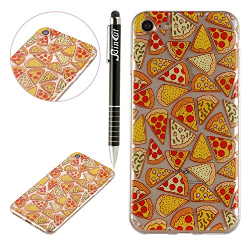 Custodia iPhone 7, iPhone 7 Cover Silicone, SainCat Cover per iPhone 7 Custodia Silicone Morbido, 3D Design Ultra Slim Transparent Silicone Case Ultra Sottile Morbida Transparent TPU Gel Cover Case Sh Pizza