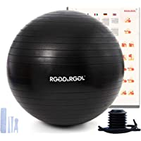 RGGD&RGGL Exercise Ball, Yoga Ball with Leak-proof Design Anti-Burst&Extra Thick Material, Easy inflation Pump, 1.5…