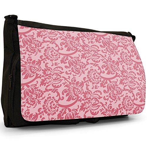 Carta da parati con motivo floreale, Design–Borsa Tracolla Tela Nera Grande Scuola/Borsa Per Laptop Red Floral Wallpaper Design