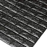 Godagoda 3D Ziegel Tapete Wandaufkleber Selbstklebend Stereo Wandtattoo Papier für Schlafzimmer Kinderzimmer TV Hintergrund 60x30cm Silbergrau