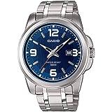 Casio Men's MTP1314D-2AV Silver Stainless-Steel Quartz Watch with Blue Dial
