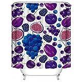 HUIYIYANG Benutzerdefinierte Duschvorhang,Karikatur-Frucht-Thema-purpurrotes Trauben-Kirschmuster Wasserdichter Anti-Mehltau Gewebe Polyester Badezimmer Duschvorhang 48