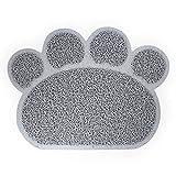 DFGY Estera de Tabla Lindo Pata Mascota Gato Alimentación Mat Pad Pet Dish Bowl Foodtable Mat Fácil Limpieza Limpiar Gris Oscuro