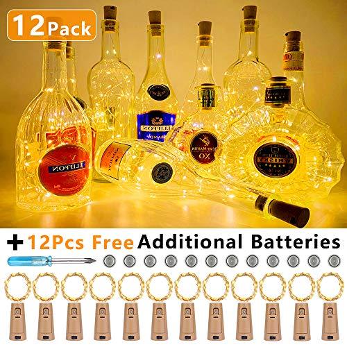 Vivibel 12 Stück LED Flaschenlicht 20LED 2M Flaschen Licht Warmweiß, Lichterkette Kupferdraht batteriebetriebene Weinflasche Lichter für DIY Deko Weihnachten Party Urlaub Stimmungslichter