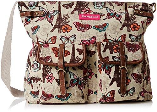 SwankySwansNoel Paris Butterfly Messenger School - Borsa a tracolla donna Beige (Beige (Beige))