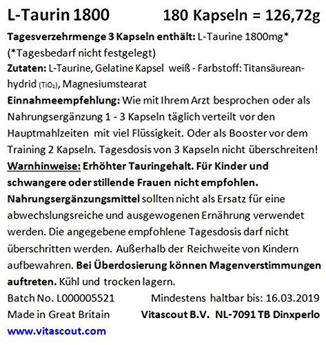 L-Taurine 1800 – 180 Kapseln je 600mg – HOCHDOSIERT – L – Taurin
