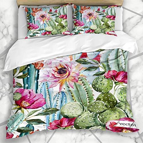 Soefipok Bettbezug-Sets Floral Green Desert Aquarell Muster Blumen Rosen Cactus Rose Natur Tropical Sukkulenten Vintage Mikrofaser Bettwäsche mit 2 Pillow Shams Desert Rose Floral