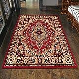 Carpeto Klassischer Orientteppich & Perserteppich mit Orientalisch Muster Kurzflor in Rot/Top Preis - ÖKO Tex (200 x 300 cm)