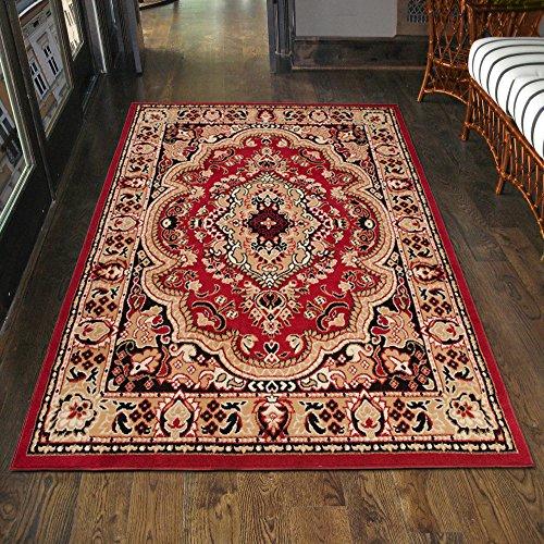 Klassischer Orientteppich & Perserteppich mit Orientalisch Muster Kurzflor in Rot / TOP Preis - ÖKO TEX (60 x 100 cm)