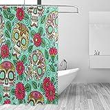 Duschvorhänge Schimmelresistent Wasserdicht Form Sugar Skull Floral Mexiko Dot bedruckt waschbar Polyester Bad Vorhang mit stabiler Haken für Badezimmer Home Dekoration Zubehör 167,6x 182,9cm