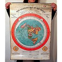 Flat Earth Poster Print: Gleasons New Standard Map of World 1892-40x28 inch (101x72cm) - Printed on Medium Thick PVC Weatherproof Outdoor Tarpaulin
