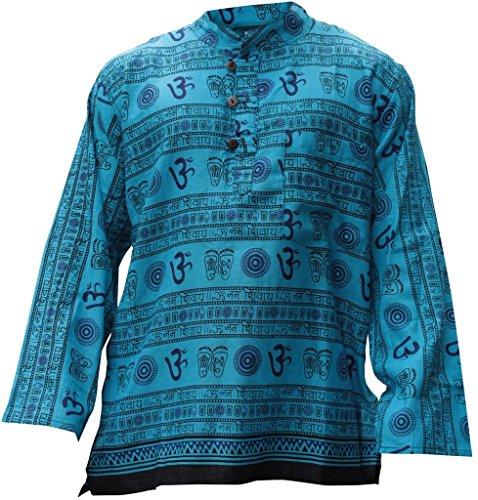 Shopoholic Fashion Uomo Om Stampa Hippie Nonno Camicia Turquoise