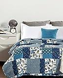 Colcha bouti microfibra estampada modelo Bormes - cama individual de 90cm - medidas 180x270