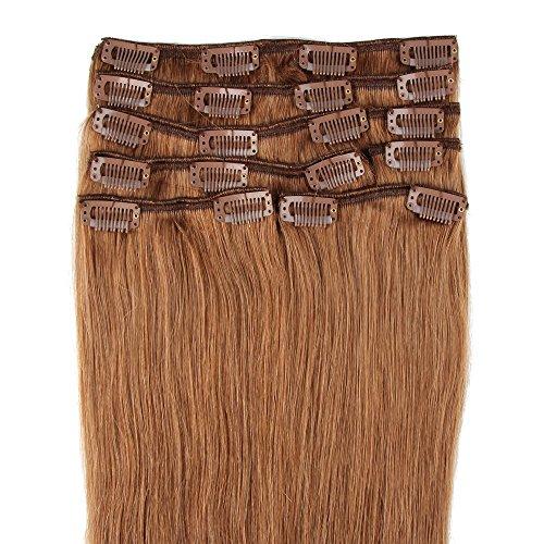 Beauty7 120g Extensions de Cheveux Humains à Clip 100% Remy Hair #8 Couleur Marron Clair Longueur 60 cm