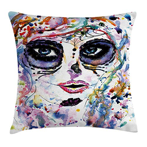 row Pillow Cushion Cover, Halloween Girl with Sugar Skull Makeup Watercolor Painting Style Creepy, Decorative Square Accent Pillow Case, 18 X 18 inches, Multicolor ()