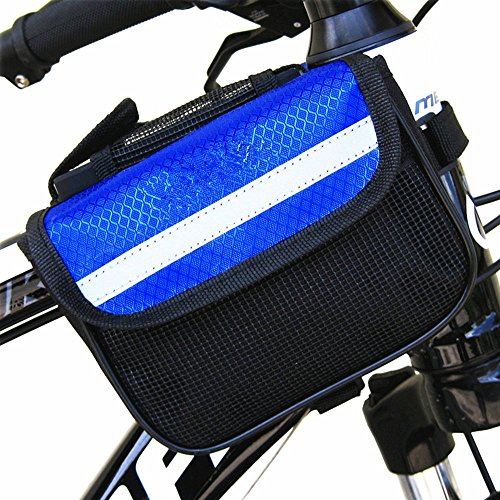 Fahrradrahmentasche Radfahren Bilateralen Paket Strahlenpaket aus Nylon Satteltasche Werkzeugtasche für Rennrad, Mountainbike, Oberrohr Fahrrad Handytasche Halter Blau