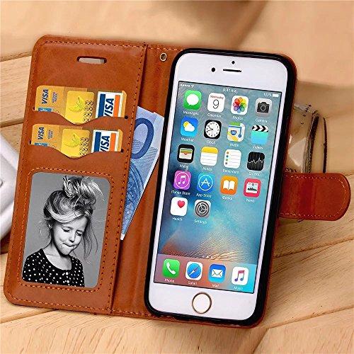 iPhone Case Cover Luxusmode-Kasten Jeans PU-Leder-Kasten-Abdeckung Schlag-Standplatz-Abdeckungs-Fall mit Karten-Bargeld-Slots Mischfarben-Kasten für IPhone 6S 4,7 Zoll ( Color : Rose , Size : IPhone 6 Black