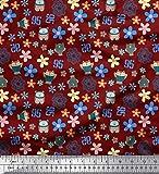 Soimoi Rot Poly Georgette Stoff Eule, Zahlen & Blumen Clip