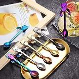 Fstore Cucchiaino da caffè, 7 Pezzi cucchiaino da caffè in Acciaio Inossidabile Set di cucchiaini Carino mescolando/mescolando/Zucchero/Dessert/marmellata/Cucchiaio da Gelato