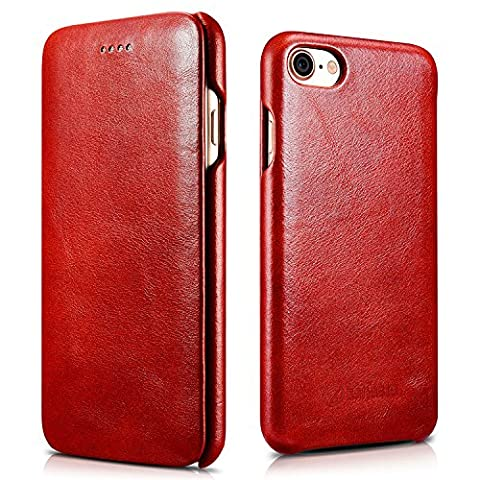 zanasta iPhone 7 Case, iPhone 8 Leather Case, Premium Flip Cover Smooth Genuine Leather Surface Ultra Slim Full Protection with Flap Closure | Curved Edge Vintage