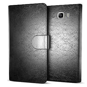 MTT® Premium Leather Flip Wallet Case with Card Slot for Samsung Galaxy J7 SM-J710F (Black)