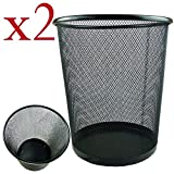 Zuvo Lightweight and Sturdy Circular Mesh Waste Bin, Black, Pack of 2