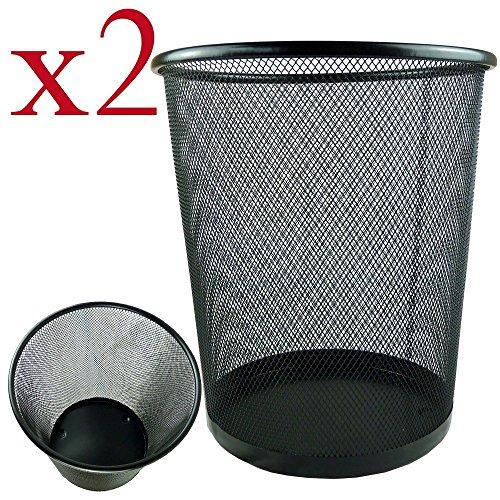 Bid Buy Direct - Juego de 2 papeleras (ligeras y resistentes, forma circular, malla)