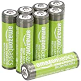 AmazonBasics AA High-Capacity Rechargeable Batteries, Pre-charged - Pack of 8 (Appearance may vary)